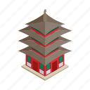 asia, asian, isometric, japan, japanese, religion, temple icon