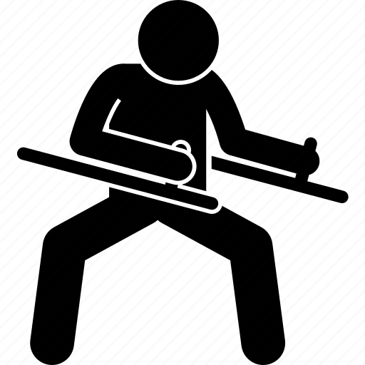 fighter, hand, tonfa, weapon icon