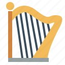 harp, instrument, music, orchestra, string icon
