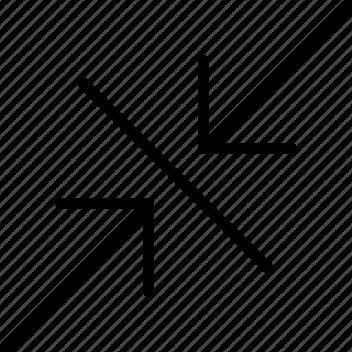 arrow, compress, diagonal, direction, indicator, orientation icon