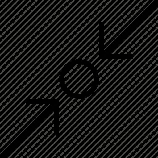 arrow, compress, diagonal, direction, indicator, object, orientation icon