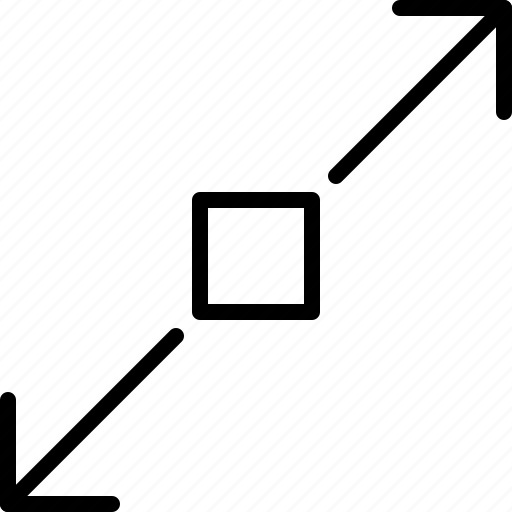 arrow, diagonal, direction, expand, indicator, object, orientation icon