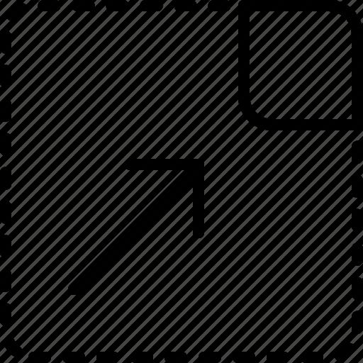 arrow, corner, direction, drag, move, object, orientation icon