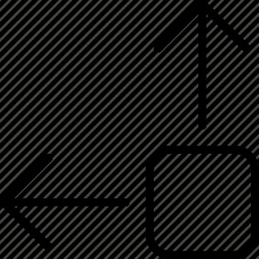 arrow, bottom, direction, drag, move, object, orientation icon