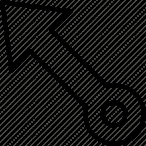 arrow, diagonal, direction, move, object, orientation, top icon