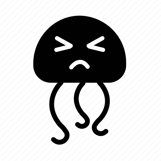 confused, emoji, face, happy, jellyfish, sea creature icon