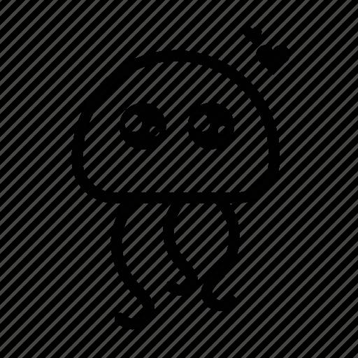 emoji, happy, in love, jellyfish, sea creature icon