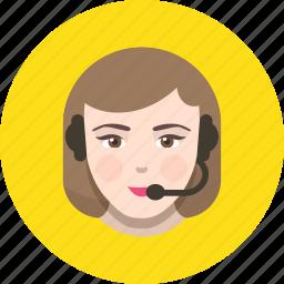 call, center, face, girl, support, tech icon
