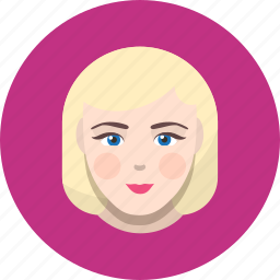 avatar, blonde, face, girl, human, user, woman icon