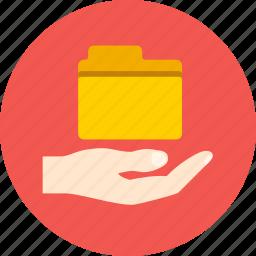 access, file, folder, hand, share icon