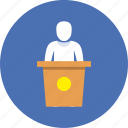 deputy, politician, presentation, speech icon