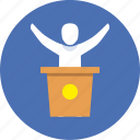 deputy, elections, meeting, politician, presentation, speech, victory icon