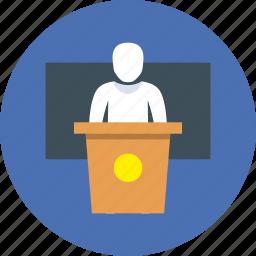 college, deputy, politician, presentation, speech, university icon
