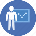 analysis, presentation, man icon