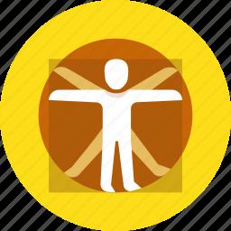 man, vinchi, vitruvian icon