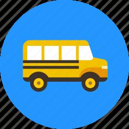 autobus, bus, school, transport, vehicle icon