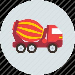car, concrete, mixer, transport, truck icon
