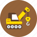 caterpillar, crane, machine icon