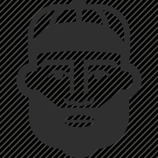avatar, baseball cap, beard, boy, face, male, man icon