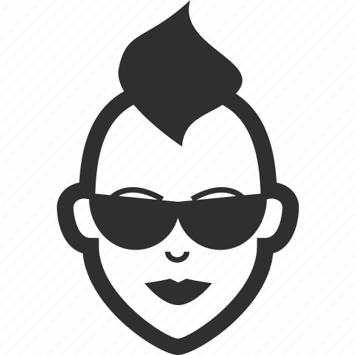 avatar, face, female, girl, mohawk, sunglasses, woman icon