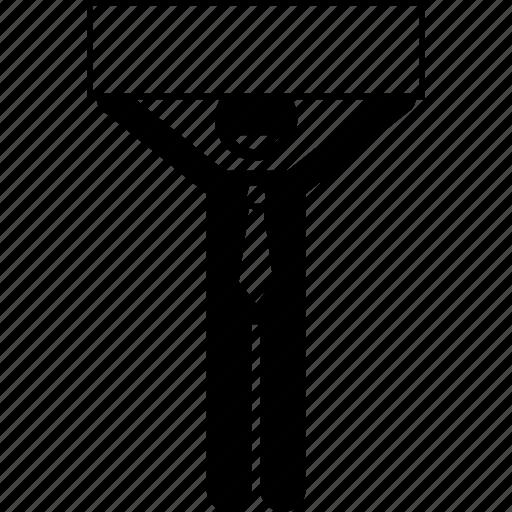 banner, businessman, empty, happy, holding icon
