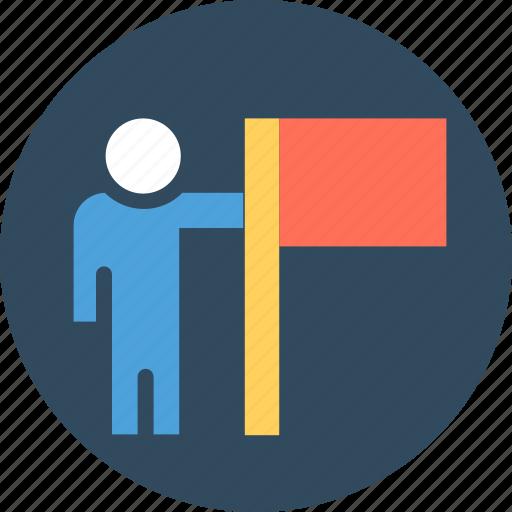 achiever, business achievement, business success, businessman flag, winner icon
