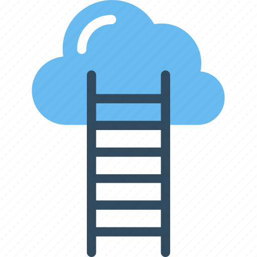 cloud stairway, cloud success, competition concept, ladder to cloud, success ladder icon