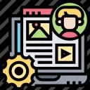 laptop, management, content, blogger, webpage
