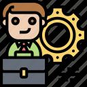 career, setting, skill, businessman, employment icon