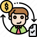employee, payment, rotation, job, hire icon