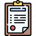clipboard, document, paper, file