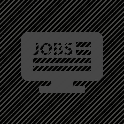 computer, job, job search, man, monitor icon