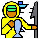 avatar, boat, fish, fisherman, jobs, occupation, spear icon