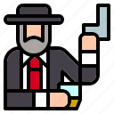 criminal, gun, hat, job, mafia, mafioso, miscellaneous icon