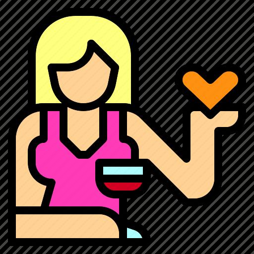bar, flirting, girl, job, lady, occupation, prostitute icon