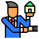 agent, estate, home, house, job, real, seller icon
