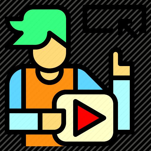 influencer, network, social, video, vlogger, youtube, youtuber icon