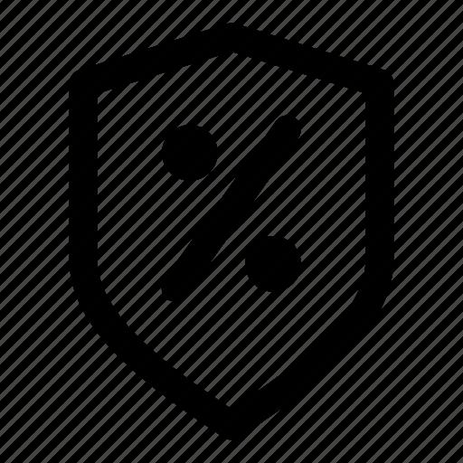 discount, percent, price, protect, shield icon