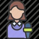 female, press, journalist, reporter