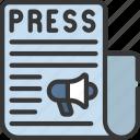 release, interview, newspaper, press