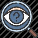 unknown, research, loupe, search, eye
