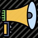 announcer, bullhorn, loudspeaker, marketing, megaphone, protest, shout