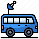 automobile, car, reporter, satellite, signal, transportation, van