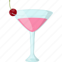 cherry smoothie, fresh juice, martini glass, natural drink, summer drink icon