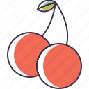 cherries, food, fruit icon