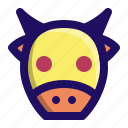 animal, beef, calf, cow, face, moo icon