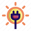 electricity, plug, power, solar, sun icon