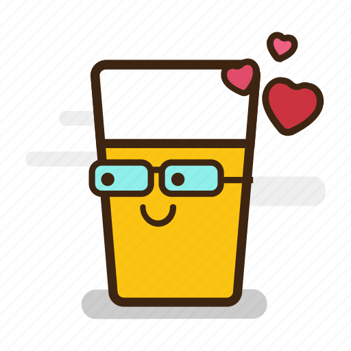 alcohol, beer, cute, emoji, emoticon, expression, froth, geek, glass, glasses, hearts, love, nerd icon