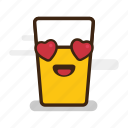 alcohol, beer, cute, emoji, emoticon, expression, eyes, froth, glass, hearts, love, smiling icon