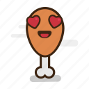 chicken, chicken leg, emoji, emoticon, expression, fast food, fried, heart, junk food, love, smiling icon